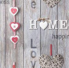 Amor su hogar Gris Rojo Panel de Madera Shabby Chic Wallpaper Fine Decor FD41718