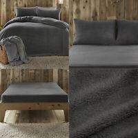 Charcoal Grey Teddy Fleece Teddy Bear Sherpa Fluffy Soft Warm Duvet Cover Set