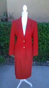 Pendleton Skirt and Jacket Two-Piece Wool Red Suit Skirt Sz 12 Jacket Sz 10