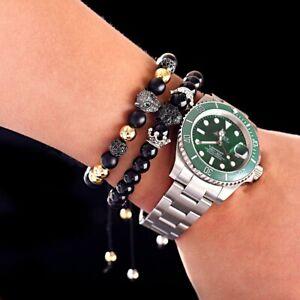8mm Balls Crown Fox Bracelets Black Matte Onyx Stone Adjust Men Women Bracelets