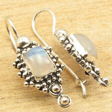 Blue Shine RAINBOW MOONSTONE Gems, Silver Plated FIX HOOK ETHNIC Earrings Gift