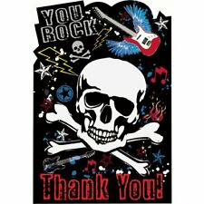Party Rock Star Heavy Metal Music Kids Birthday Party Thank You Notes Cards