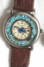 DEJUNO SOUTHWEST-WESTERN WATCH-GENUINE TURQUOISE STONES-BROWN BRAID LEATHER BAND