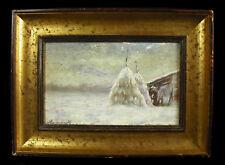 Eugène ROCQUEMONT c1870 huile sur carton paysage enneigé snowy landscape