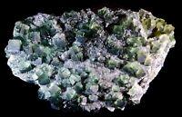 PRISTINE LARGE Green FLUORITE w/ QUARTS (Tucson Gem & Mineral Show!)