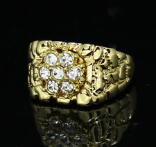 Mens Nugget Pinky Ring 14k Gold Plated Icy Cluster Cz Hip Hop Band