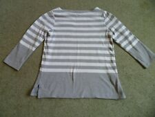 Hobbs Top Sweater | Cotton Top Grey White Stripe | Size S 10