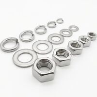 M1-M24 304 Stainless Steel Hex Hexagon Nut Flat Plain Spring Split Lock Washer