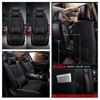 PU Leather  Stylish Front Row Car Seat Covers Cushions Neck Lumber w/Pillows