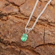 Natural Zambian Emerald Tiny 3 x 5mm 925 Sterling Silver Pendant Necklace
