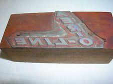AER-O-LINE Vintage Wood Block Printing Metal PRINTERS Stamp Advertising
