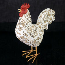 Rooster Damask Figurine White and Brown Resin Home Decor - LB 16-838