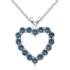925 Sterlingsilber 2CT TGW London Blauer Topas offenes Herz Halskette