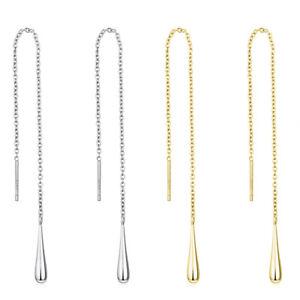 Sterling Silver Teardrop Line Pull Through Threader Dangle Earrings