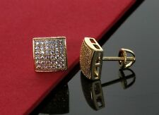 Men Hip Hop 14K Gold Plated CZ Iced Out Square Micro Pave Earring Screw Back