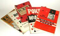 Lot of 5 ~ VINTAGE POKER BOOKS - by Steig - Moss - APCM - Radner - Morehead