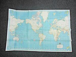 "Vintage 1950's Hammond's International Map of the World 33"" x 50"""
