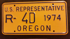 1974 OREGON R-4D U. S. REPRESENTATIVE LICENSE PLATE
