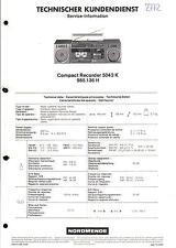 Nordmende Original Service Manual für Compact Recorder 5043 K