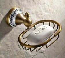 Antique Brass Ceramic Wall Mounted Bathroom Accessory Soap Dish Holder mba409