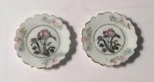 Dollhouse Miniatures Handpainted Set Of Floral Porcelain Plates