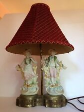 RARE! Antique France Berger Swivel Harp 2 Royal Victorian Figurines Table Lamp