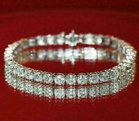 Certified 7.00 Ct White Round Cut VVS1 Diamond Tennis Bracelet 14K White Gold