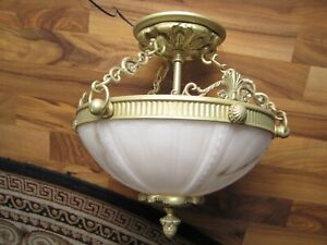 Murray Feiss Pasquale Miranda Solid Brass and Alabaster Celling Fixture