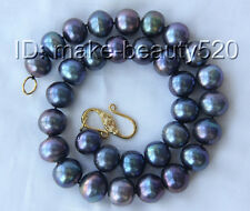 stunning big 16mm round black freshwater cultured pearls necklace s2614