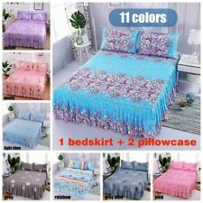 Floral Dust Ruffle Bed Skirt Set Pillowcase Bed Sheet Bedspread Twin Queen King
