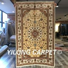 YILONG 3'x5' Yellow Hand Knotted Silk Area Rug Home Decor Floral Carpet WY207C