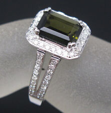 Solid 14K White Gold Natural Green Tourmaline Engagement Diamonds Ring