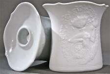 Mid-century Charming AK Alboth & Kaiser White Matte Bisque Candleholders M Frey