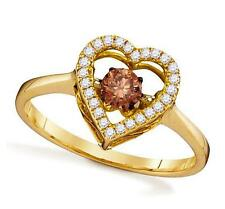 Twinkle Diamond Heart Ring 10K Yellow Gold Chocolate Brown & White Diamond .38ct