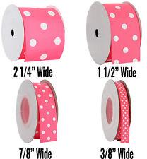 "Dots Grosgrain Ribbon 3/8"",7/8"",1 1/2"",2 1/4"" widths 5 &10 yd rolls 19 colors"