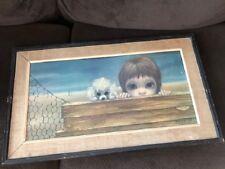 """Vtg 1963 """"BEACHHEAD"""" Margaret Walter Keane! BIG EYES Dog Print litho framed Art"""