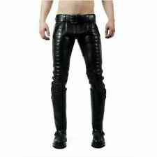 Men's Cowhide Leather Punk Padded Pants Bikers Cuir Trousers Jeans Gay Rear Zip