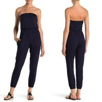 Go Couture Navy Strapless Jumpsuit Romper Large Casual