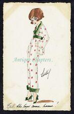 WWII Art Deco Girl Silk Pyjamas Fashion Original Artwork Hand Painted Postcard
