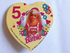 Barbie - 5 years Old - Heart Shaped Card Faced  Badge 1995