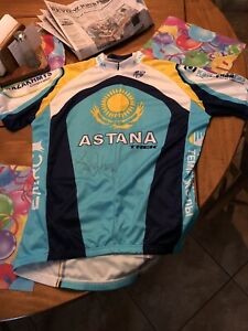NWT Astana Trek Cycling Jersey Men's Large L Bicycle LANCE ARMSTRONG SIGNED AUTO