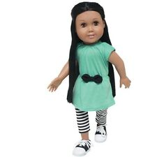 """Doll Clothes AG 18"""" Leggings Stripe Aqua Tunic Made To Fit American Girl Dolls"""