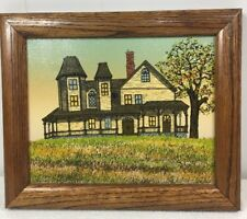 "Vintage Hargrove Oil Painting Old Victorian Farmhouse Picture Signed  12"" x 10"""