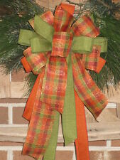 FALL PLAID BOW ORANGE SPARKLY WIRED for WREATHS LIGHTS POST GARLAND CRAFTS #1