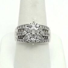 New Sterling Silver CZ Cubic Zirconia Snowflake Poinsettia Flower Ring sz10