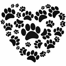 Paw Print Heart Car Stickers Funny Vinyl Decals Motorbike Fairings Panniers