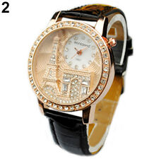 Women Fashion  Eiffel Tower Dial Faux Leather Black Band Wrist Watch.