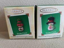 2003 Snow Cozy Snowmen Hallmark Ornament Miniature Collector Series #2 & #3 2004
