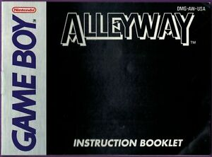 Alleyway (Nintendo Game Boy, 1989) Instruction Booklet ONLY