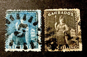 "Barbados ""Britannia"" 1861/70 x2 VFU stamps LH"